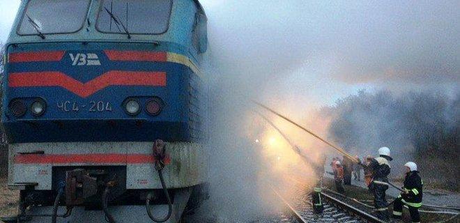 В Черниговской области сгорел локомотив электрички - Фото
